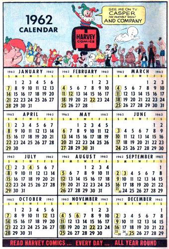 1962 calendar from a Harvey comic book