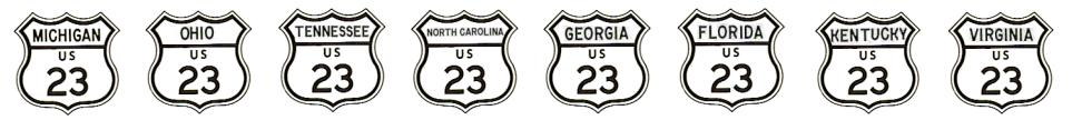 US-23 route signs, 1961 style