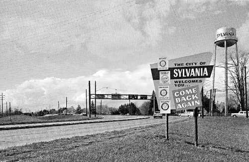 Welcome sign at Sylvania, Ohio, 1962