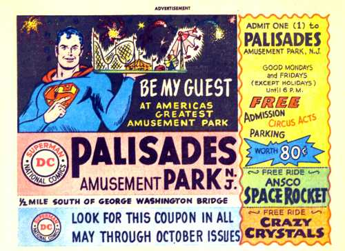 Palisades Park coupon from 1962 comic book