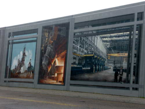 floodwall mural depicting local steel industry, Portsmouth, Ohio