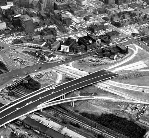 Cleveland freeway construction, about 1962