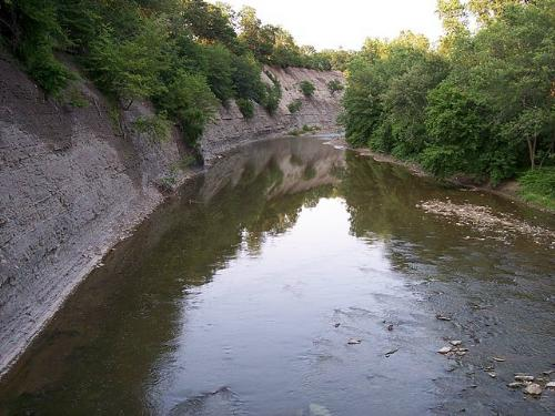 shale cliff along Rocky River, Cleveland Ohio