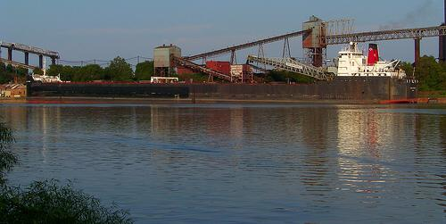 Great Lakes ore carrier dockside at the steel mill, Lorain, Ohio