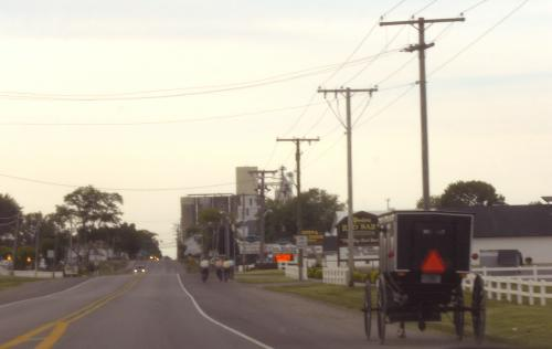 Amish buggy and bicycles on road, northern Indiana