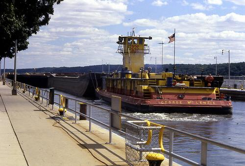 Towboat George W. Lenzie, on Illinois River, Utica, Illinois