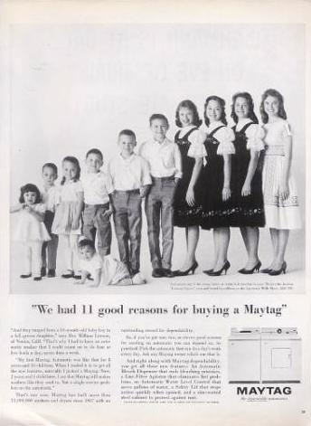 Maytag washer and dryer ad from 1962
