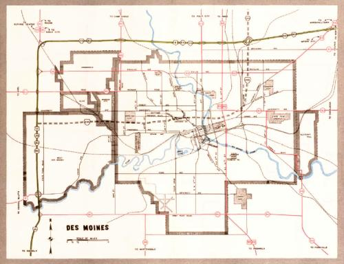 Des Moines, Iowa, 1962 official Iowa highway map