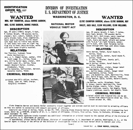 FBI Wanted Poster for Clyde Barrow and Bonnie Parker, 1933