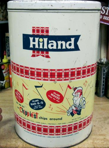 1960s Hiland Potato Chips can