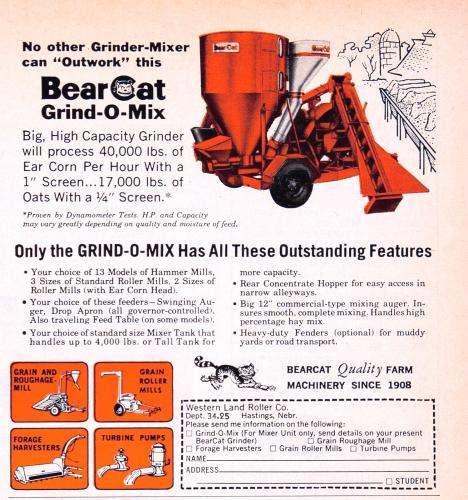 1968 ad for Bearcat Grinders from Western Land Roller Company