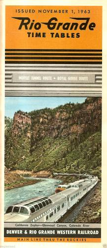 Denver and Rio Grande Western Railroad passenger timetable, 1963