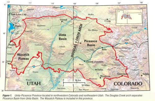 Map, Piceance Basin and Uinta Basin gas and oil fields