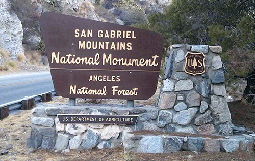 Angeles National Forest / San Gabriel Mountains National Monument sign