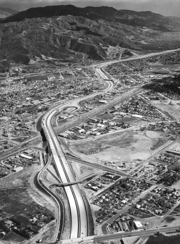 Golden State Freeway near intersection of San Fernando Boulevard at Lankershim Boulevard, Los Angeles, California, 1962