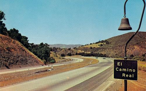 Mission bell marker on El Camino Real, California (postcard from 1960s)