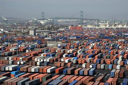 Shipping containers at Port of Long Beach, California