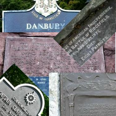 Collage of various historical monuments around Danbury, Connecticut