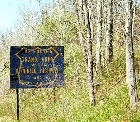 Old sign for Grand Army of the Republic Highway and Roosevelt Highway, Pennsylvania