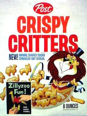 Post Crispy Critters cereal box, 1962