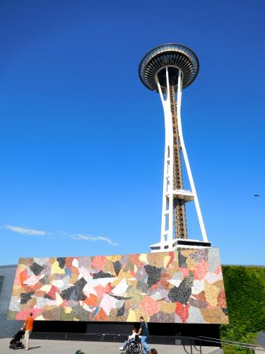 Space Needle and Horiuchi mosaic mural, Century 21 Exposition grounds, Seattle, Washington, 2018