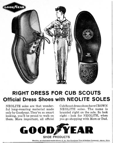 Ad for official Cub Scout shoes from Goodyear