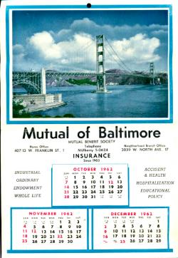 1962 Mutual of Baltimore and Zimmermans Wall Calendars