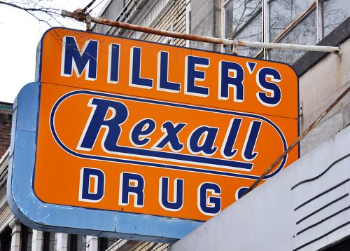 Miller's Rexall Store sign in Atlanta, Georgia