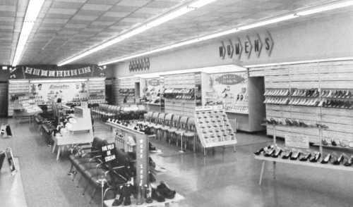 Kinney Shoes store interior, 1962