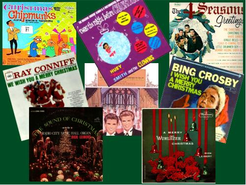 Collage of Christmas record albums from 1962