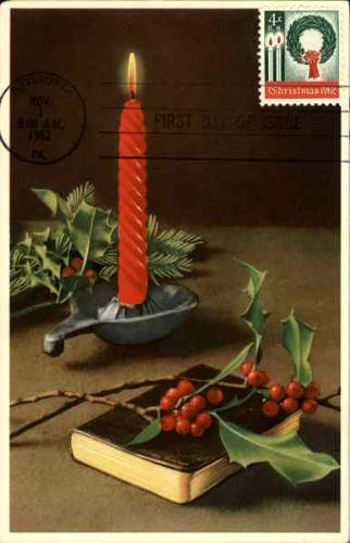 1962 Christmas card with first United States Christmas stamp