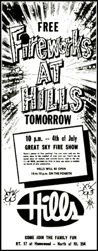 Fireworks ad, Hills Department Store, Lorain, Ohio, 1962