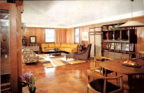 Living-dining area of Popular Mechanics' House of Care-Free Living, 1962
