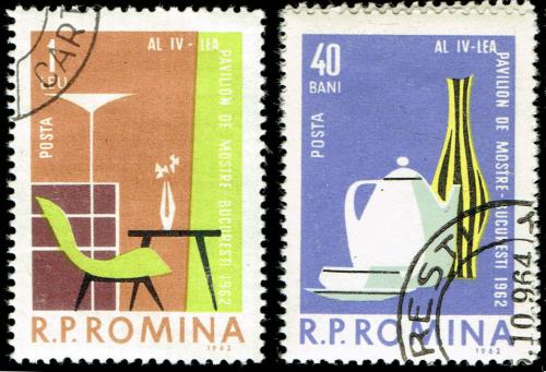 Romanian stamps from 1962 featuring furniture