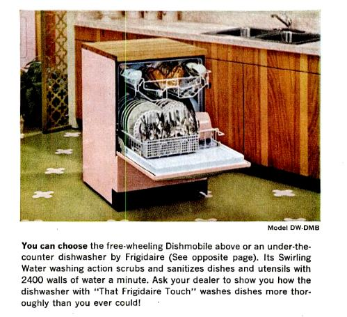 1962 magazine ad for Frigidaire Dishmobile diswasher
