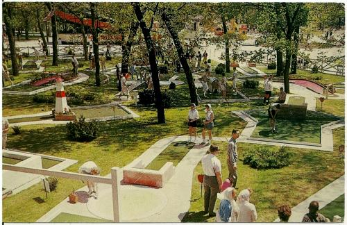 Cedar Point amusement park mini golf course, Sandusky, Ohio, 1960s postcard