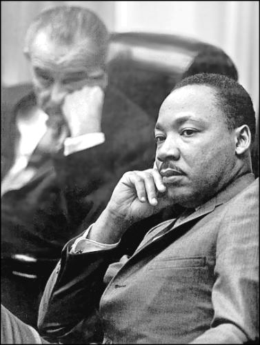 Martin Luther King, Jr. with President Johnson, 1963