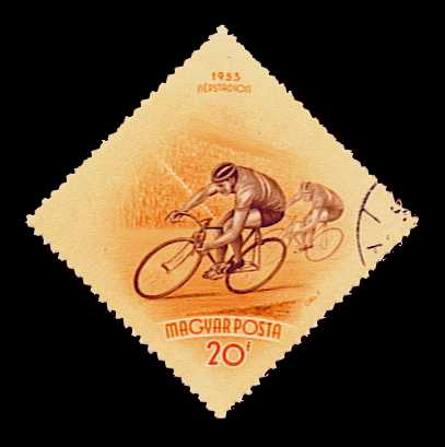 1953 Hungarian stamp depicting bicycle race