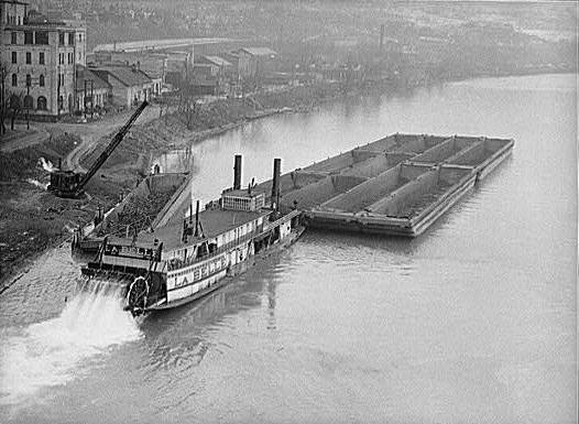 river barge on Ohio River, 1940