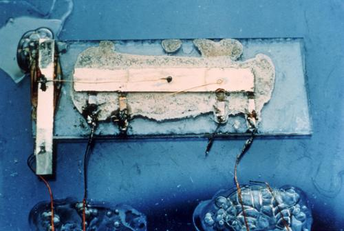 First integrated circuit, Jack Kilby, 1958, Texas Instruments.