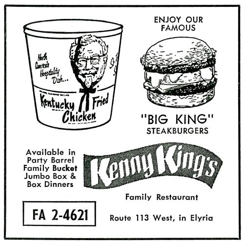 Kentucky Fired Chicken ad, Kenny King's Family Restaurants, Elyria, Ohio, 1962