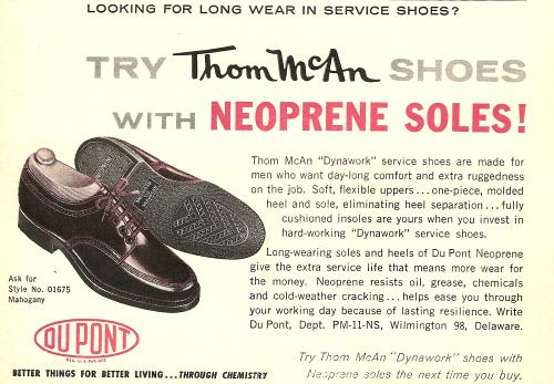 1962 magazine ad for Thom McAn Shoes, with DuPont Neoprerne soles