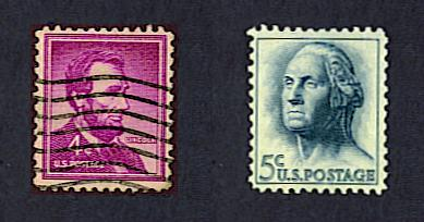 4 cent Lincoln stamp and 5 cent Washington stamp, 1962