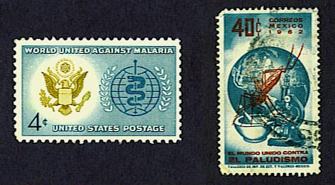 WHO malaria eradication stamps, United States and Mexico, 1962