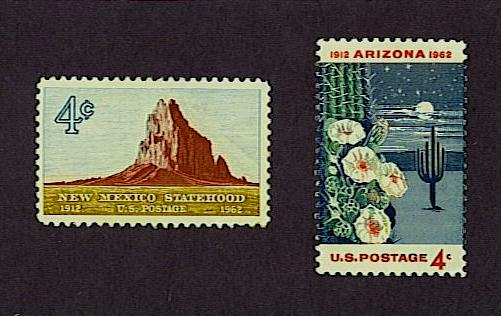 New Mexico and Arizona 50th anniversary of statehood stamps, United States, 1962