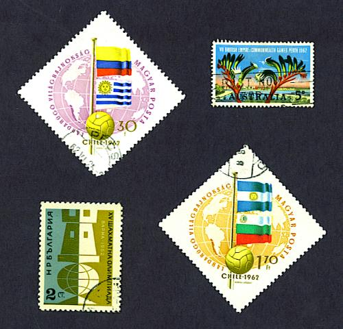 World Cup Soccer stamp, Hungary, 1962, and British Commonwealth Games stamp, Australia, 1962, and Chess Olympics stamp, Bulgaria, 1962