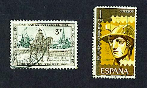 International Stamp Day stamps, Belgium and Spain, 1962