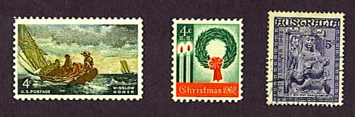 Winslow Homer stamp, United States, 1962, and 1962 Christmas stamps from United States and Australia