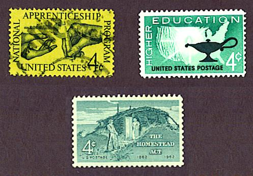 Homestead Act stamp, National Apprenticeship Program stamp, and higher education stamp, United States, 1962