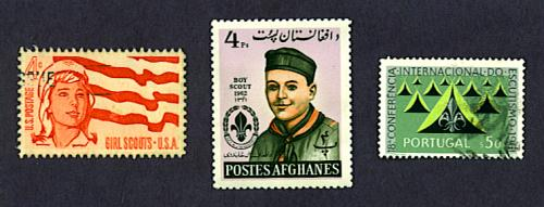 Girl Scouts stamp, United States, 1962, Boy Scouts stamp, Afghanistan, 1962, and 50th anniversary of Boy Scouts stamp, Portugal, 1962